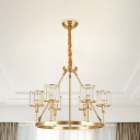 6 Bulbs Crystal Prism Pendant Lamp Modern Brass Circle Dining Room Ceiling Chandelier