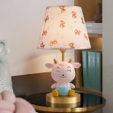 Pink and Blue Cone Table Lamp Kids 1 Light Fabric Nightstand Light with Resin Sheep Base
