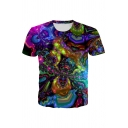 Unique Abstract 3D Printed Short Sleeve Crew Neck Slim Fitted Tee Top in Purple