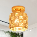 1 Bulb Cylinder Cutouts Mini Flush Light Modern Gold Crystal Encrusted Ceiling Mounted Lamp