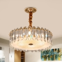 Oval Crystal Clear Suspension Lamp Scalloped Round 6 Heads Modern Style Chandelier