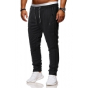 Athleta Guys Drawstring Waist Contrasted Cuffed Ankle Length Slim Fit Pants in Black