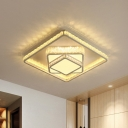 Modern Style Tiered Square Flush Light Crystal-Encrusted LED Ceiling Mount Lamp in White