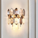 2-Light Tiered Quatrefoil Wall Lamp Modernist Clear Crystal Wall Mount Lighting Fixture