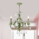 Candle Metal Ceiling Chandelier Romantic Pastoral 3 Lights Bedroom Pendant in Green with Crystal Drop
