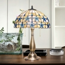 Victorian Domed Night Table Lighting 2-Head Shell Blossom Patterned Desk Light in Gold with Pull Chain
