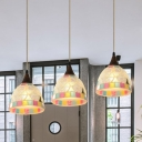 Shell Domed Cluster Pendant Tiffany Style 3-Head Bronze Finish Mosaic Patterned Hanging Ceiling Light