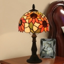 Baroque Domed Night Lamp 1-Light Hand Cut Glass Desk Lighting in Bronze with Sunflower Pattern