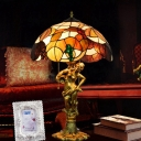 3 Heads Pull Chain Night Light Baroque Dome Shaped Hand Cut Glass Nightstand Lighting in Bronze with Woman Base
