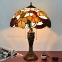 Mediterranean Bowl Night Lamp 2-Head Stained Glass Pull Chain Desk Light in Brown/White and Brown with Grape Pattern