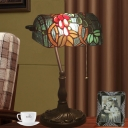 1 Light Rectangle Night Table Lighting Tiffany Bronze Stained Art Glass Grapes Patterned Nightstand Light