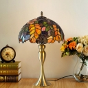 Gold 1-Light Table Lighting Autumn Foliage Hand Cut Glass Tiffany Nightstand Lamp
