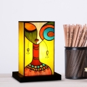 Stained Glass Rectangle Night Lamp Baroque 1 Light Black Nightstand Light with Woman Pattern