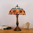 Stained Art Glass Yellow/Orange Table Light Sunflower 1 Light Victorian Style Night Lamp for Bedroom