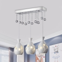 Dome Multi Pendant Modern Metal 3 Heads Dining Room Floral Patterned Ceiling Hang Fixture in White with Crystal Orb