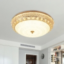 LED Crystal Ceiling Lighting Contemporary Bowl Opal Glass Flush Mount Light Fixture in Gold