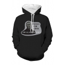 Chic Mens Letter Justice for Loyd Graphic Long Sleeve Drawstring Kangaroo Pocket Relaxed Hoodie in Black