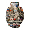 Stylish Cartoon Figure Letter Pray for World Graphic Long Sleeve Drawstring Pouch Pocket Loose Fit Hoodie in Brown