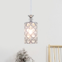 Minimal 3-Light Multi Light Pendant Silver Cylinder Ceiling Lamp with Clear Crystal Shade