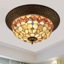 Shell Bronze Flush Mount Fixture Peony/Jewel/Flower LED Tiffany Style Ceiling Light with Crisscrossed Edge