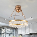 Gold Ring Pendant Fan Lamp Modern Crystal Block LED Semi Flush Lighting with 3 Clear Blades, 48