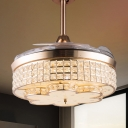 3-Blade Drum Bedroom Pendant Fan Light Clear Crystal Glass LED Contemporary Semi Flush in Gold, 42.5