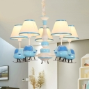 Cartoon Airplane Resin Drop Lamp 3/5-Head Chandelier Light Fixture with Conical Fabric Shade in Blue