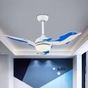Blue/White Dolphin LED Ceiling Fan Kids Style 3-Blade Metallic Semi Flush Mount Light, 42
