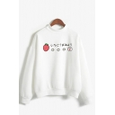 Japanese Letter Strawberry Graphic Long Sleeve Mock Neck Relaxed Fashion Pullover Sweatshirt