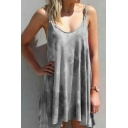 Popular Womens Tie Dye Printed Spaghetti Straps Short Pleated A-line Cami Dress