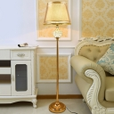 Barrel Fabric Shade Floor Lighting Nordic Style Single Light Gold Floor Stand Lamp with Crystal Accent