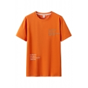 Stylish Guys Letter Printed Short Sleeve Crew Neck Loose Fit Tee Top