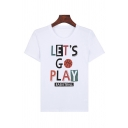Simple Guys Letter Let's Go Play Printed Short Sleeve Crew Neck Regular Fit T-shirt