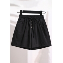 Popular Girls Drawstring Waist Button up Solid Color Loose Shorts
