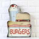 Soda Drink/Ice Cream-Burger Signs Sconce Country Iron Cafe Shop Mini Wall Night Light in Blue-Yellow/White