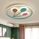 Balloon Ultrathin Flushmount Lighting Kids Aluminum Blue LED Surface Ceiling Lamp in Warm/White Light