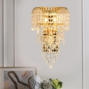3 Heads Cascade Sconce Light Fixture Traditional Gold Beveled K9 Crystal Wall Lighting