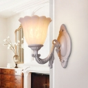 1/2-Head Sconce Light Fixture Vintage Floral White Glass Wall Lighting for Living Room