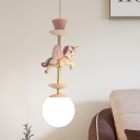 Unicorn Resin Pendant Lighting Kids 1 Light Pink/Blue Ceiling Suspension Lamp with Bottom Ball Milk Glass Shade