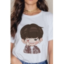 Womens Chic Cartoon Figure Printed Short Sleeve Round Neck Relaxed Fit Tee Top in White