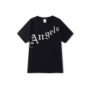 Leisure Mens Letter Angels Print Short Sleeve Crew Neck Loose Fit T Shirt