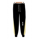 Cool Guys Number Print Drawstring Waist Contrasted Ankle Length Cuffed Relaxed Fit Sweatpants in Black