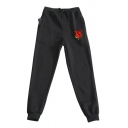 Fashionable Rose Pattern Drawstring Waist Cuffed Ankle Length Carrot-fit Sweatpants for Guys