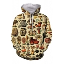 Boys Unique Allover Mushroom Printed Long Sleeve Drawstring Pouch Pocket Loose Fit Hoodie