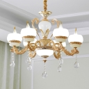 6/8-Head Ceiling Chandelier Traditional Dining Table Suspension Light with Bowl Frosted White Glass Shade in Gold