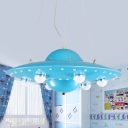 Kids Flying Saucer Hanging Light Metal Nursery LED Pendant Chandelier in Grey/Pink/Blue with White Glass Shade