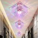 Square Corridor Ceiling Light Modernism K9 Crystal LED White Flush Mount Spotlight in Warm/White/Multi Color Light