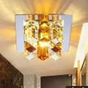 Square Crystal Block Ceiling Flush Modernist LED Corridor Flush Mount Light Fixture in White/Blue/Amber