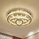 Crystal Chrome Flush Ceiling Light Halo LED Simplicity Flushmount with Double C-Shape Design