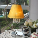 Traditional Conical Table Light LED Fabric Night Lamp in Yellow with Crystal Ball and Aromatherapy Glass Dish